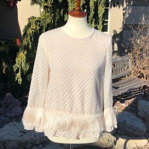 M.S.S.P. Cream blouse with fringe sz XS